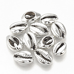 Electroplated Sea Shell Beads, Undrilled/No Hole Beads, Cowrie Shells, Silver, 15~18x10~12x6~7mm