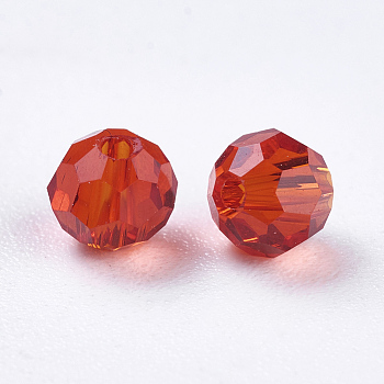 Red Imitation Austrian Crystal Beads, Grade AAA, Faceted, Round, Red, 4mm, Hole: 0.7~0.9mm