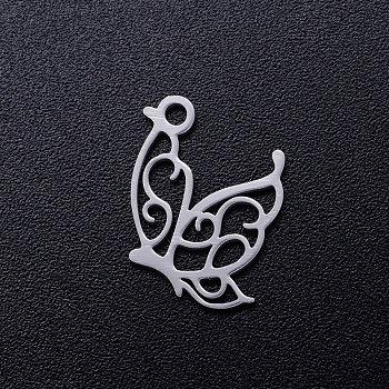 Pendentifs creux en 201 acier inoxydable, papillon, couleur inoxydable, 15.5x13x1mm, Trou: 1.5mm