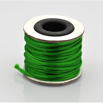 Cola de rata macrame nudo chino haciendo cuerdas redondas hilos de nylon trenzado hilos, verde lima, 2mm