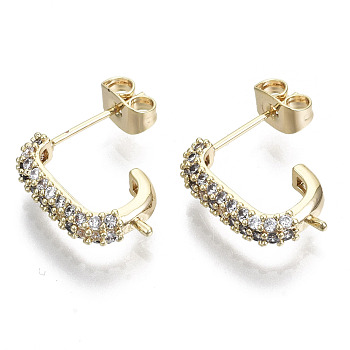 Brass Micro Pave Cubic Zirconia Stud Earring Findings, with 925 Sterling Silver Pins and Ear Nuts, for Half Drilled Bead, Nickel Free, Real 18K Gold Plated, Clear, 17.5x4mm, Hole: 0.9mm, Pin: 0.7mm