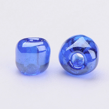 Blue Glass Seed Beads, Trans. Colours Lustered, Round, Blue, 4mm, Hole: 1.5mm; about 4500pcs/pound