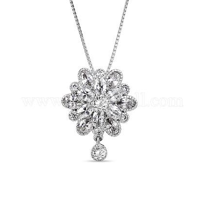 SHEGRACE® Flower Glittering Platinum Plated Brass Pendant NecklacesJN227A-1
