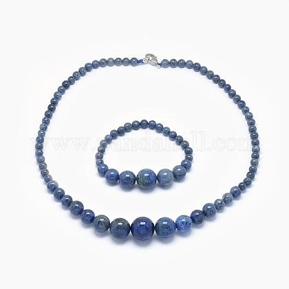 Natural Dumortierite Quartz Graduated Beads Necklaces and Bracelets Jewelry SetsSJEW-L132-10-1