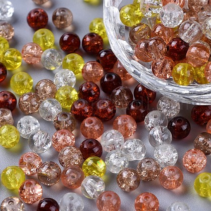 Perlas de vidrio craquelado pintadoDGLA-X0006-6mm-12-1