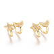 Golden Plated Brass Micro Pave Cubic Zirconia Cuff Earrings, Long-Lasting Plated, Star & Moon, Clear, 16x13x10mm