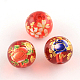 Mixed Flower Picture Printed Glass Round BeadsX-GFB-R004-12mm-M16-2