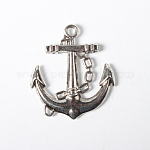 Tibetan Style Alloy Pendants, Lead Free and Cadmium Free, Anchor & Helm, Antique Silver, about 32mm long, 27mm wide, 4mm thick, hole: 2.5mm