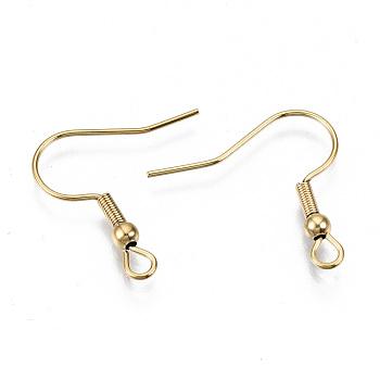 Ganchos para pendientes de 304 acero inoxidable, cable de oreja, Sin cadmio y níque y plomo, real 18k chapado en oro, 21x22mm, agujero: 2 mm; pin: 0.7 mm