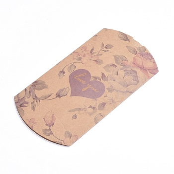 BurlyWood Paper Pillow Boxes, Gift Candy Packing Box, with Clear Window, Flower Pattern, BurlyWood, 17.5x10.05x3.85cm