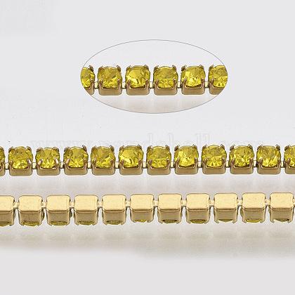 304 acero inoxidable cadena de strass de rhinestoneSTAS-T055-11G-1