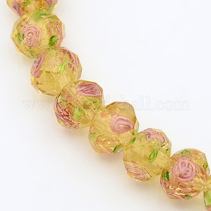 Handmade Gold Sand Lampwork Rondelle Beads StrandsLAMP-L003-A-08-1