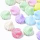 Opaco poliestireno (ps) camas de plástico, forma de concha de vieira, color mezclado, 13.5x13.5x6.5mm, Agujero: 1.8 mm; aproximamente 1000 unidades / 500 g