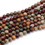 Natural Picasso Stone/Picasso Jasper Round Bead Strands, 6mm, Hole: 1mm; about 64pcs/strand, 16inches