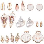 PandaHall 20Pcs Natural Sea Shell Pendant Beads Gold Plated Pendant Charms for DIY Crafts Project Jewelry Findings Ocean Beach Spiral Sea Shells