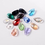 Faceted Drop Glass Pendants, Mixed Color, 16x9x6mm, Hole: 1mm