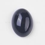 Natural Black Agate Cabochons, Oval, Black, 18x13x5~6.5mm