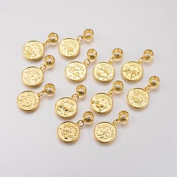 Legierung europäischen baumeln Dangling Großlochperlen, Große lochanhänger, Sternbild / Sternzeichen, golden, gemischt, 33 mm, Bohrung: 4.5 mm, Anhänger: 20.5x17.5x2 mm