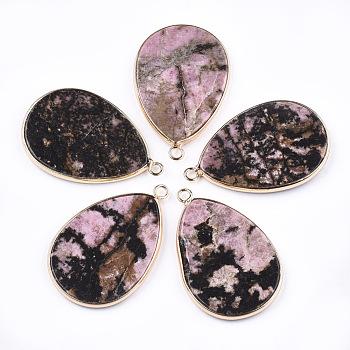 Природные подвески родонит, с латунной фурнитурой , слеза, золотые, 39x25x3 мм, отверстие : 2 мм