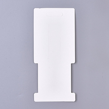 White Feather Pattern Paper Jewelry Display Cards, for Hair Accessories Display, White, 160x70x0.3mm, Hole: 9x28mm