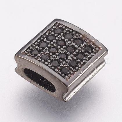 Environmental Brass Micro Pave Cubic Zirconia Slide Charms ZIRC-F083-105B-02-RS-1