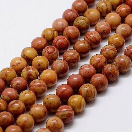Natural Wood Lace Stone Beads StrandsG-D863-8mm-1