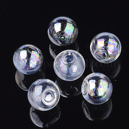 Round Handmade Blown Glass Globe Beads X-BLOW-R002-18mm-AB-1