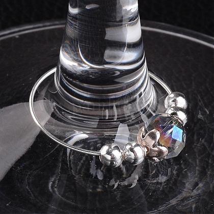 Glass Beads Wine Glass CharmsAJEW-JO00142-02-1