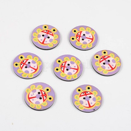 2-Hole Flat Round with Ladybird Pattern Acrylic Buttons BUTT-F055-06D-1
