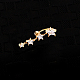 Piercing Jewelry Real 18K Gold Plated Brass Star Cubic Zirconia Navel Ring Belly RingsAJEW-EE0001-94-5