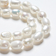 Hebras de perlas ovaladas de agua dulce cultivadas naturalesPEAR-R015-45-3
