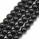 Abalorios de vidrio, redondo, negro, aproximamente 10 mm de diámetro, agujero: 1 mm; aproximamente 30 unidades / cadena, 12