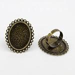 Компоненты регулируется латунные кольца, цветок, античная бронза, лоток : 19x25 мм; 17 мм