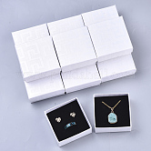 Cardboard Jewelry Boxes, for Earring & Ring & Pendant, with Sponge Inside, Square, White, 7.5x7.5x3.5cm; Inner Size: 7x7cm; No Cover: 7cm long, 7cm wide, 3mm thick; Cover: 7.5cm long, 7.5cm wide, 2cm thick