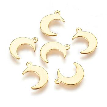 Encantos de 304 acero inoxidable, luna, dorado, 15.5x11x1mm, agujero: 1.4 mm
