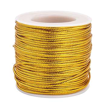 Jewelry Braided Thread Metallic Cords, Goldenrod, 2mm; about 50m/roll