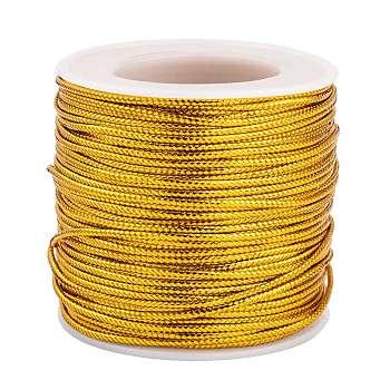 Cuerdas metálicas de hilo trenzado de joya, vara de oro, 2 mm; aproximamente 50 m / rollo