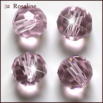 Pink Imitation Austrian Crystal Beads, Grade AAA, Faceted, Round, Pink, 4mm, Hole: 0.7~0.9mm