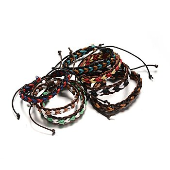 Adjustable Braided Leather Cord Bracelets, with Cords, Mixed Color, 57mm, 13x8mm