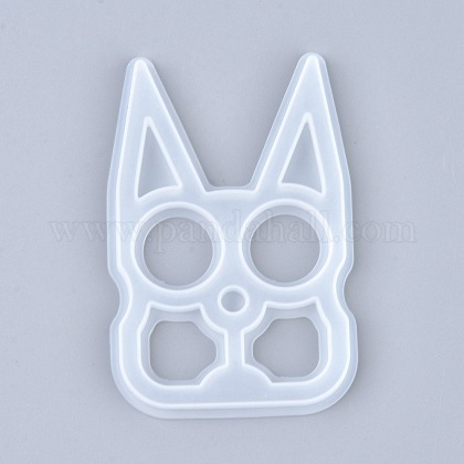 Self Defense Silicone Molds, Resin Casting Molds, Self Defense Finger Weapons Rabbit Keychains Molds, Clear, 95x63x6mm, Inner Diameter: 90x58mm X-DIY-I036-18