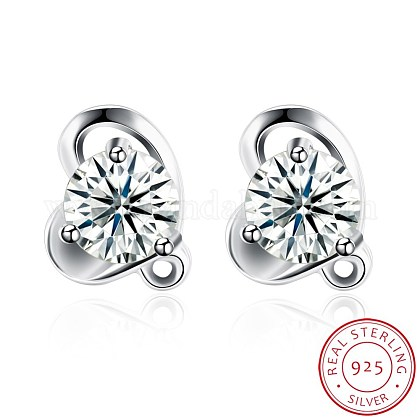 Exquisite 925 Sterling Silver Cubic Zirconia Stud EarringsEJEW-BB20082-1