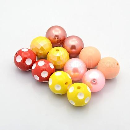 Redondas abalorios de acrílico bubblegum gruesoOACR-X0003-1