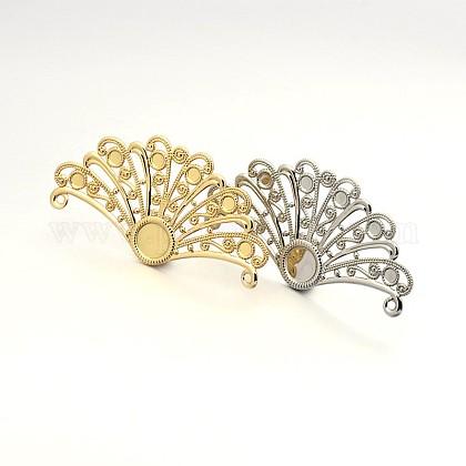 Fan Shaped Brass Filigree Pendant Flat Round Bezel Cabochon SettingsKK-L052-01-1