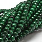 Brins de perles naturelles de malachite, ronde, 4mm, trou: 1mm; environ 102 pcs/chapelet, 15.7
