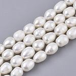 Hebras de perlas de agua dulce cultivadas naturales, arroz, color de concha, 8~10x7~8mm, agujero: 0.6 mm, aproximamente 41~42 unidades / cadena, 14.17 pulgada (36 cm)