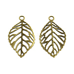 Tibetan Style Alloy Filigree Leaf Pendants, Cadmium Free & Nickel Free & Lead Free, Antique Bronze, 48.5x26x1.5mm, Hole: 4mm; about 341pcs/1000g