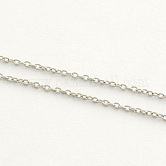 304 Stainless Steel Cable Chains, Soldered, Oval, Stainless Steel Color,1.5x1.1x0.3mm