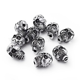 Antique Silver Acrylic Beads, Halloween Skull, 23x17x15.5mm, Hole: 3.5mm; about 172pcs/500g