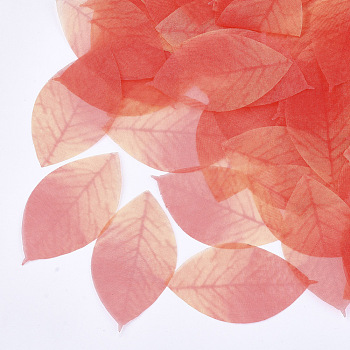 Organza Fabric, For DIY Jewelry Making Crafts, Leaf, Tomato, 52x29mm