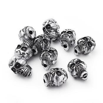 Античные шарики акриловым серебром, Хэллоуин череп, 23x17x15.5 мм, Отверстие : 3.5 мм , около 172 шт / 500 г